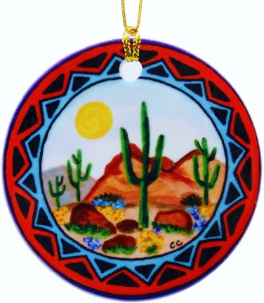 Saguaros porcelain ornament
